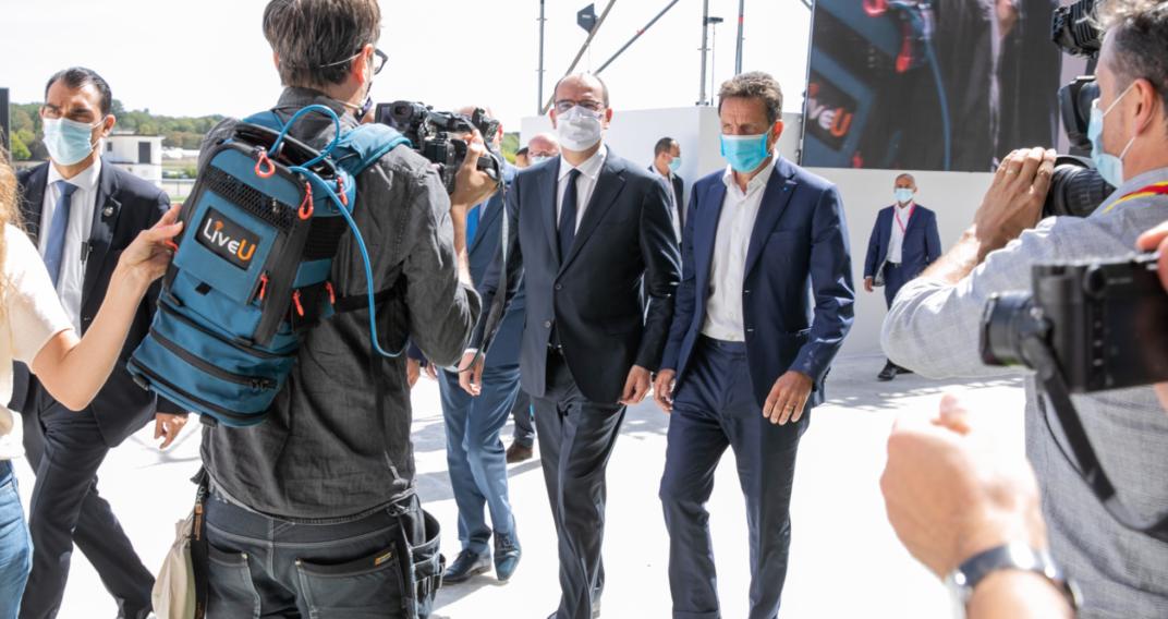 Le Premier ministre Jean Castex et le président du Medef Geoffroy Roux de Bézieux arrivent à la REF le 26 août 2020.
